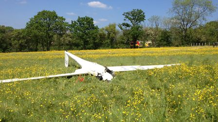 A glider pilot ejected from his aircraft after the mid-air crash. Picture: CAMBS FIRE.