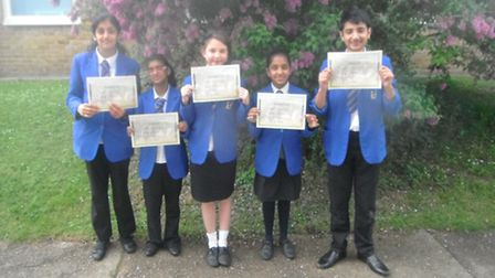 The winning pupils from Heathlands Primary with their certificates