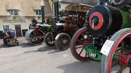 Steam engines outside The Hoops pub in Bassingbourn