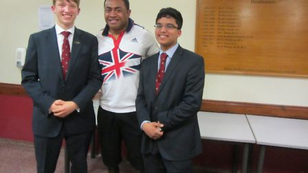 Welcoming Lance Corporal Derek Derenalagi to St Columba's College in St Albans recently were Edward