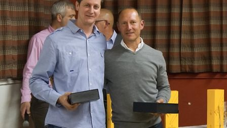 Jez Hall and Warren Everdell recieve their Oustanding Achievemt trophies at St Ives presentation eve