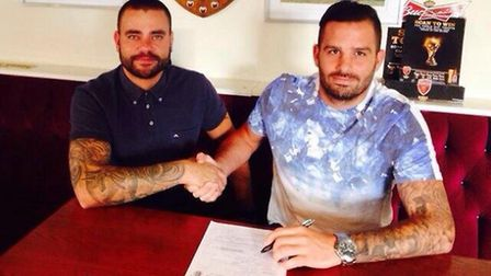 Colney Heath manager Wes Awad, left, and new signing Jimmy Hill.
