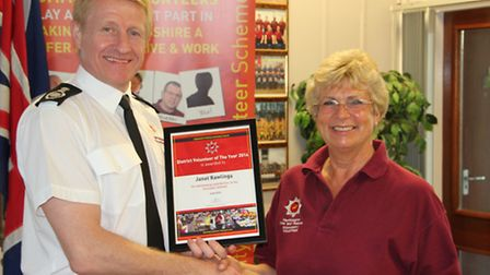 Janet Rawlings, of St Albans, receives the St Albans and Dacorum district volunteer of the year awar