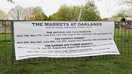 The banner advertising the markets at Oaklands college in Fleetville