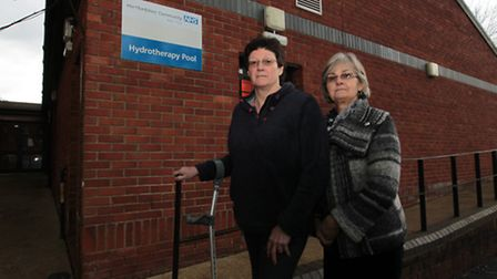 Rosie Dolling and Kay DePeza outside the hydrotherapy pool at St Albans hospital