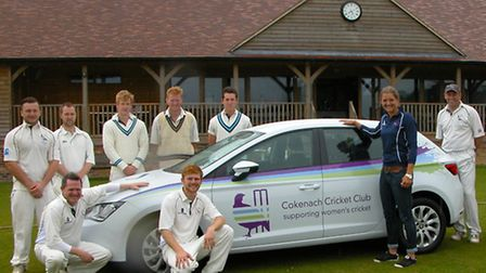 England wicketkeeper Sarah Taylor receiving a car from Cokenach Cricket Club on behalf of sponsors.