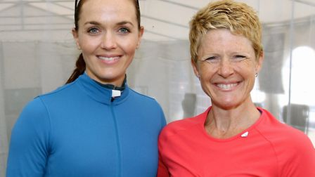 Yoga instructor Charlotte Peers, of St Albans, with Olympic star Victoria Pendleton at the Cycletta