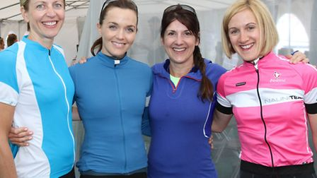 Pictured, from left, at the Cycletta, a women only cycling event in Woburn, Bedfordshire, are indoor