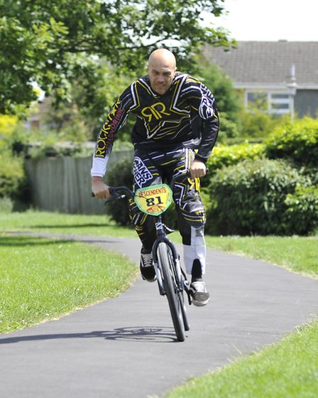 BMX rider Jason Heard, at his home in St Ives.