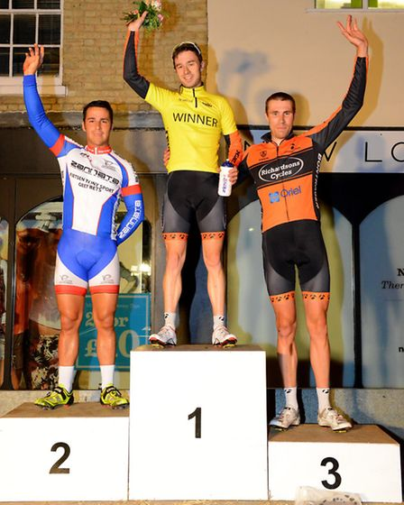 St Ives Nocturne, cycling races, winners of the Elite Race, 1st Dean Shannon 2 Billy Whenman and 3r