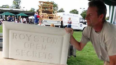 Royston Open Secrets: Andy Boughton of AMB Stonemasonary with a special carving he made for the exhi