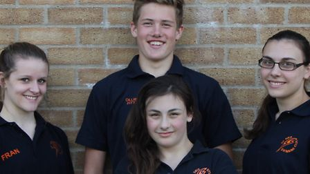 St Ives Swimming Club members Francesca Crocker, Jessica Rayner, Dannielle Rayner and Ollie Fitt at