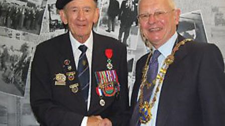 Ernie Brewer and former St Albans Mayor Chris Oxley at the launch of the Return to Normandy exhibiti