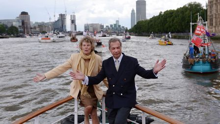 Nigel Farage and Kate Hoey on board a boat promoting 'Fishing for Leave'