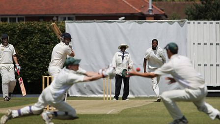 Shane Burger edges a Shadrach Gittens-Browne ball behind but it eludes both wicket keeper and first
