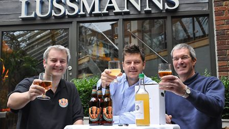 Mark Fanner of 3 Brewers, Andrei Lussmann and Richard Bull of Highfield Park Trust which provides ap
