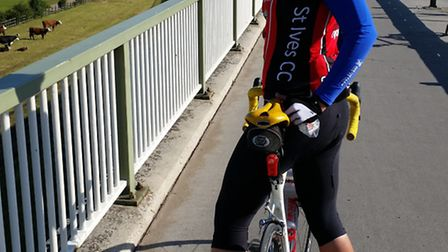 Jess Williams on the Humber Bridge, about the halfway point on her 24-hour 300-mile ride.