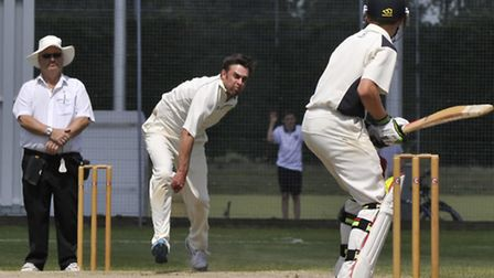 Eaton Socon bowler Glen Daniels in action in their draw with St Ives on Saturday. Picture: Helen Dra