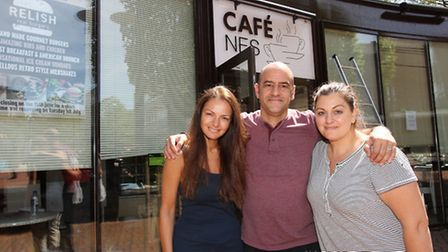 Owners Anna Yianni, Mario and Elena Petrou outside Cafe Nes during the refurbishment