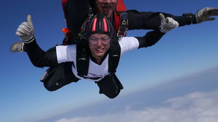 Monique Hall completes a skydive in aid of Grove House Hospice
