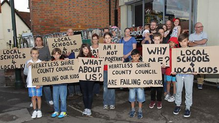 Wheathampstead residents hold a silent protest to get signatures for a petition after 5 local childr