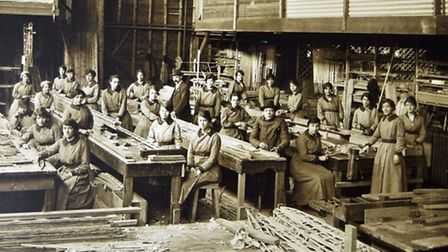 Workers at Portholme Aerodrome Limited in St John's Street, Huntingdon, which built armoured cars an