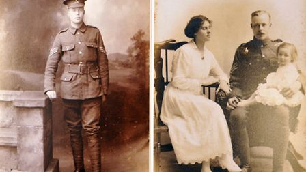 Left, Laurie Whitney in his military uniform, and right, with wife Emma Fear and daughter Rosemary.