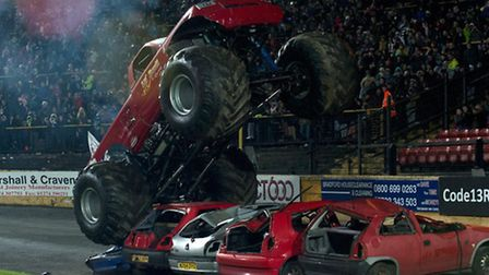 Car crushing monster trucks will be present at the newly-located stunt show