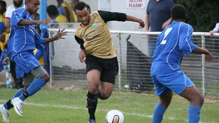 Action from London Colney's 2-0 pre-season win over Ealing Town. Picture: James Whittamore