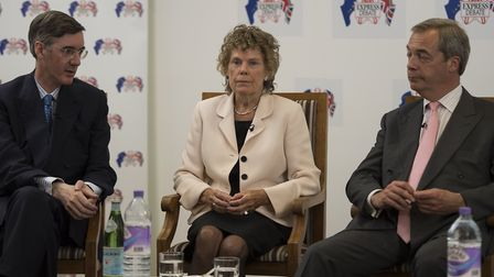 Conservative MP Jacob Rees-Mogg, Labour MP Kate Hoey, and Nigel Farage. Photograph: Lauren Hurley/PA