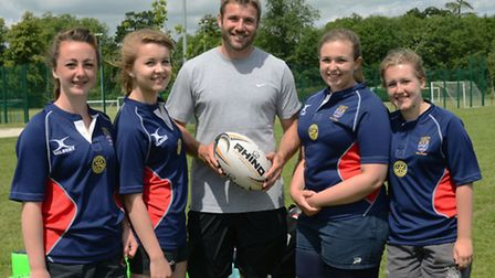 Ben Cohen (centre) with (from left) Bethany Smith, Beth Hughes, Emma Blackburn and Ellen Munday.