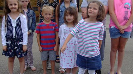 Bassingbourn Primary School pupils with their time capsule