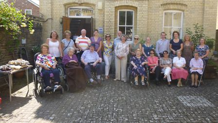 Johnson Matthey staff and Royston Museum volunteers join residents of St Georges care home for a tea