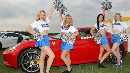 The London Cheerleaders with one of the Supercar Experiences cars