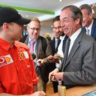 Brexit Party leader Nigel Farage visits a vape shop during a walkabout in Wales. (Ben Birchall/PA)