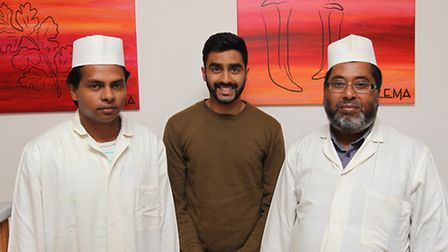 Chef Mohammad Abu Taher, delivery man Jaber Jimmader and owner Abdul Kadir of Halema