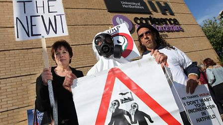 Colney Heath protesters Susan Salter, Rob Edwards and Mark Lampert outside the Fielder Centre
