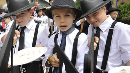 Godmanchester Gala, 1st Godmanchester Cubs as Bugsy Malone. From left, Thomas, Ben, and Max.