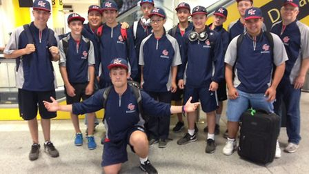 Team UK at the airport ahead of their flight to Italy,