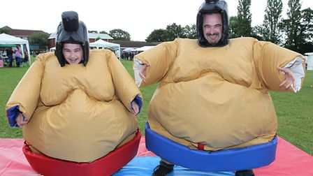Kieran Cassidy and Ollie Cassidy get ready to sumo wrestle