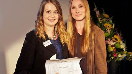 Chloe Harrison and Rosie Marcel at Oaklands College's Celebration of Success awards evening