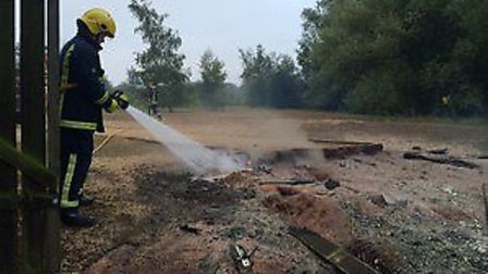 A bird hide at Paxton Pits was set on fire.