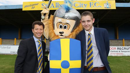 St Albans City FC Co-Owner Lawrence Levy, new mascot Sammy the Saint and Commercial Manager Tom Norm