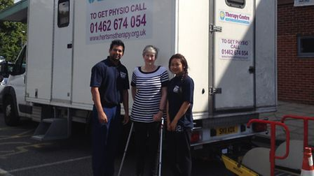 Herts MS Therapy Centre physio Ben Parkash, Francis Rotchell and physio assistant Pasang Lhamo
