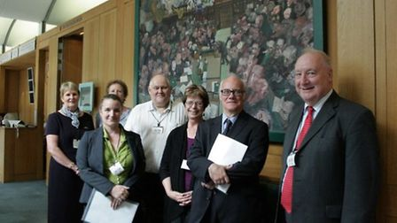 From back left, carers Jan Burt, Winifred Goulden, Carers in Hertfordshire trustee Mike Ormerod. Fro