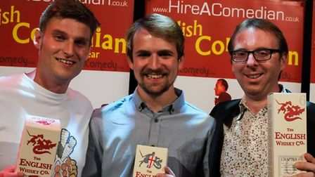 English comedian of the year winners (from left) Scott Bennett, second, Jack Campbell, first, and To
