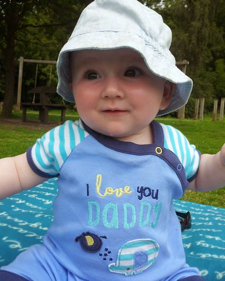 Finlay, now aged eight months, following his heart op ordeal.
