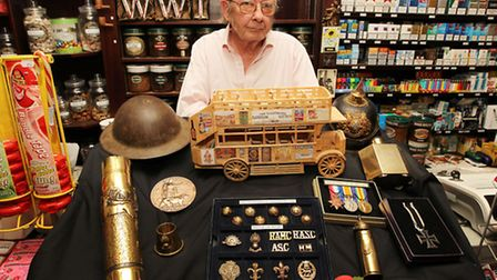 Thorns Owner Colin Moxley with just a small selection of WW1 memorabilia which will be on display in