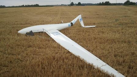 A glider crashed into a field near Little Paxton. Picture: CAMBS FIRE AND RESCUE.