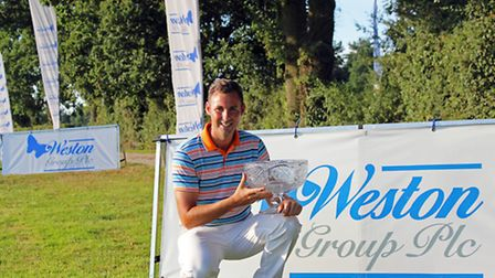 Rob Leonard celebrates a two-shot victory after the Weston Homes plc Colchester GC Classic. Picture: